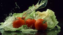 Water splashing onto lettuce and tomatoes, slow motion - stock footage