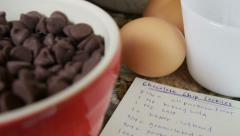 Chocolate chip cookie ingredients and recipe - stock footage