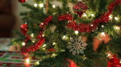Closeup of Christmas Tree, jib up Stock Footage