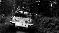 Sherman tank in the mud Stock Footage