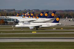 Lufthansa airplanes at munich airport Stock Photos