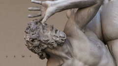 Ratto delle Sabine statue in Signoria Square on Florence_02 Stock Footage