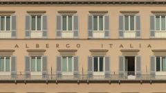 Albergo Italia building's facade, Florence, Italy Stock Footage