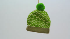 Small green wool hat ornament FullHD 1080p Stock Footage