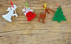 christmas decoration on wooden board - stock photo