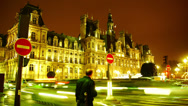 Stock Video Footage of Hotel de Ville in Paris,Rush hour,traffic in front, busy time lapse.