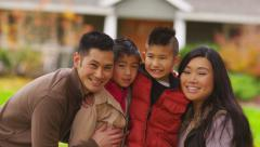 Closeup portrait of family in fall Stock Footage