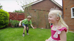 Children in the garden High quality HD video footage Stock Footage