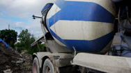 Stock Video Footage of Concrete mixer working on construction site
