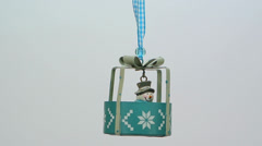 Blue metal ornament shaped as a present FullHD 1080p Stock Footage