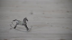 Metal rocking horse Stock Footage