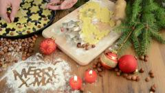 Christmas baking process for pastry Merry X-mas Stock Footage
