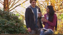 Portrait of college students in the Fall - stock footage
