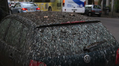 VW car covered in bird pooh Stock Footage