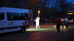 Vladimir Zinkov running with flaming torch at Sochi2014 Olympic torch relay in Stock Footage