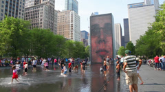 Stock Video Footage of Cityscape of Chicago with Crown Fountain on May 18, 2013 in Chicago, Illinois