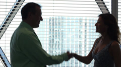 Businessman and woman shaking hands in front of window. High quality HD video Stock Footage