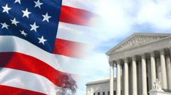 US Supreme Court and American Flag Stock Footage