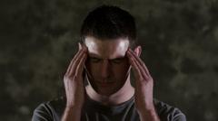 Man with headache Stock Footage