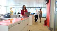 Creative team working in large open office, High quality HD video footage Stock Footage