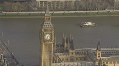 Aerial view of Big Ben and the Houses of Parliament in London - stock footage