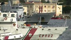 Italian cost guard and italian military vessel Stock Footage