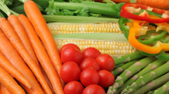 Fly over background of fresh vegetables Stock Footage
