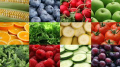 Fresh fruits and vegetables, video montage Stock Footage