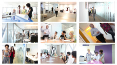 Animated series montage of business team images<br><br>High quality HD video Stock Footage