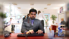 Young businessman checking his emails, as seen from the computer's pov. High Stock Footage
