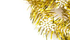 snowflake on gold ribbon - stock photo