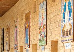 Mosaics of annunciation cathedral in nazareth Stock Photos