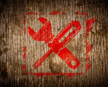 Red Icon of Crossed Screwdriver on Wood. - stock illustration
