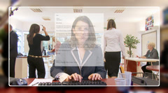 Businesswoman networking and checking her emails, from the computer screen's Stock Footage