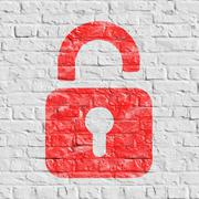 Red Icon of Opened Padlock on White Brick Wall. - stock illustration