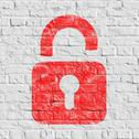 Red Icon of Opened Padlock on White Brick Wall. Stock Illustration