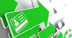 ID Card Icon on Green Arrow. - stock illustration