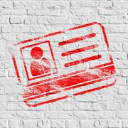 Red ID Card Icon on White Brick Wall. - stock illustration