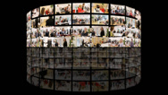 Stock Video Footage of A giant bank of media screens showing hundreds of video and film clips. A news