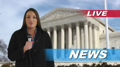 News reporter talking in front of US Supreme Court Stock Footage