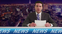 News reporter talking in television studio Stock Footage