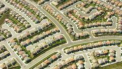 Stock Video Footage of Aerial shot of Southern California housing development