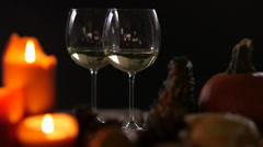 Table Setting Candles white wine romantic autumn Stock Footage