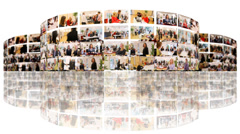 Business media wall montage. A mass of HD screens form a wall, showing a variety Stock Footage