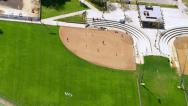 Stock Video Footage of Aerial shot little league baseball game