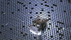 Aerial shot of solar mirrors at power plant Stock Footage