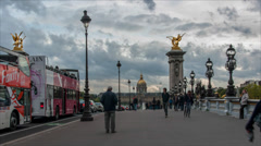 Time lapse on bridge Alexandre III in Paris, France Stock Footage