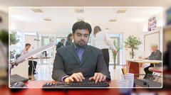 Businessman networking and checking his emails, from the computer screen's pov. Stock Footage