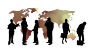 Stock Video Footage of World of business and global communication animation - Silhouettes of business