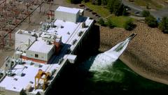 Aerial shot of hydro electric power plant Stock Footage